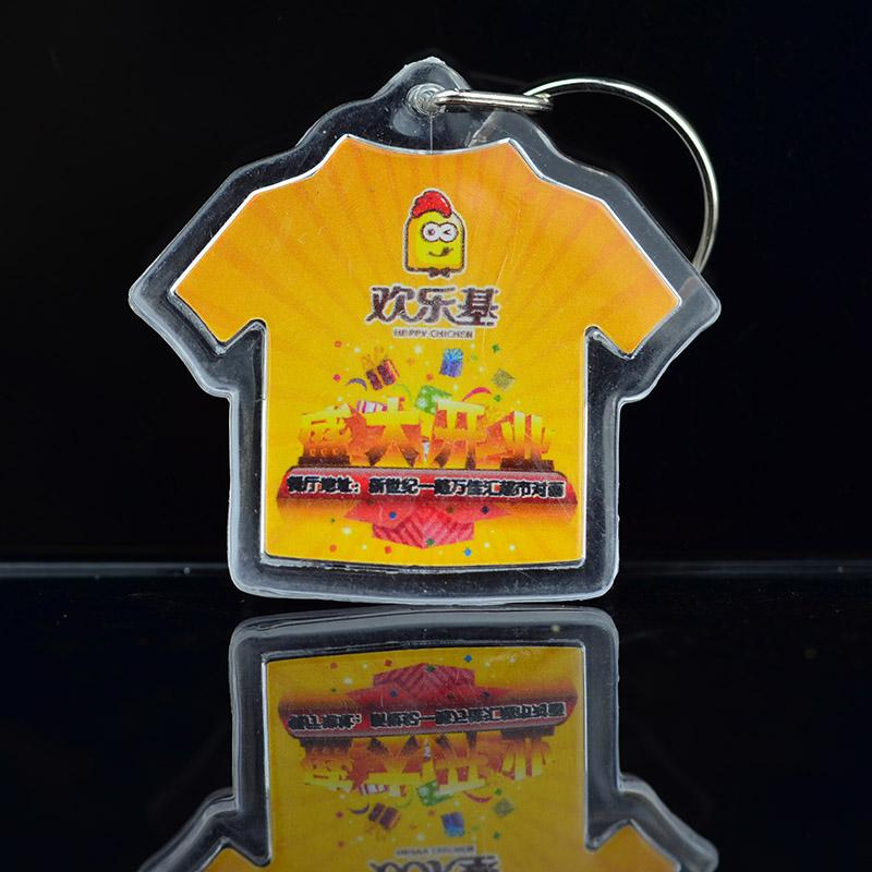 Wholesale Custom Print Your Own Logo T Shirt Shaped Acrylic Keychain