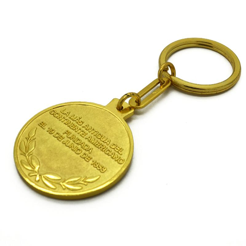 double side metal keychain gold plated