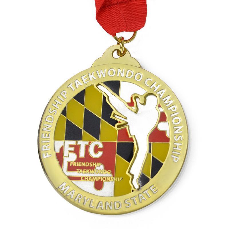 Wholesale Custom Cheap Die Cut Metal Enamel Taekwondo Medal