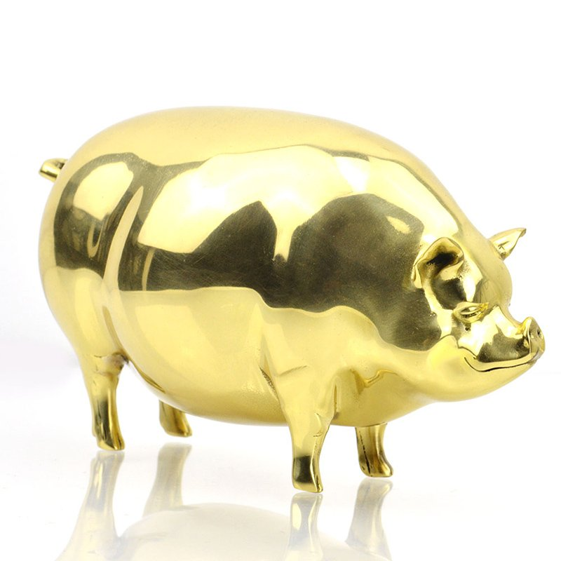 3D Gold Pig Figurines Animal