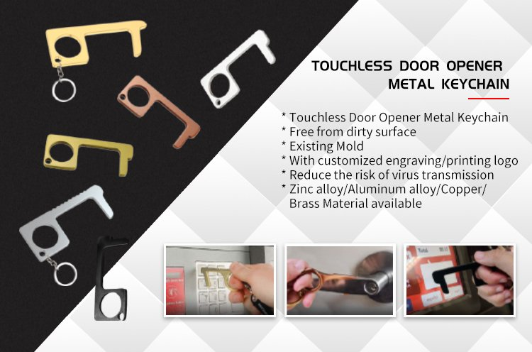 No Touch Door Opener Copper Hands Free Keychains