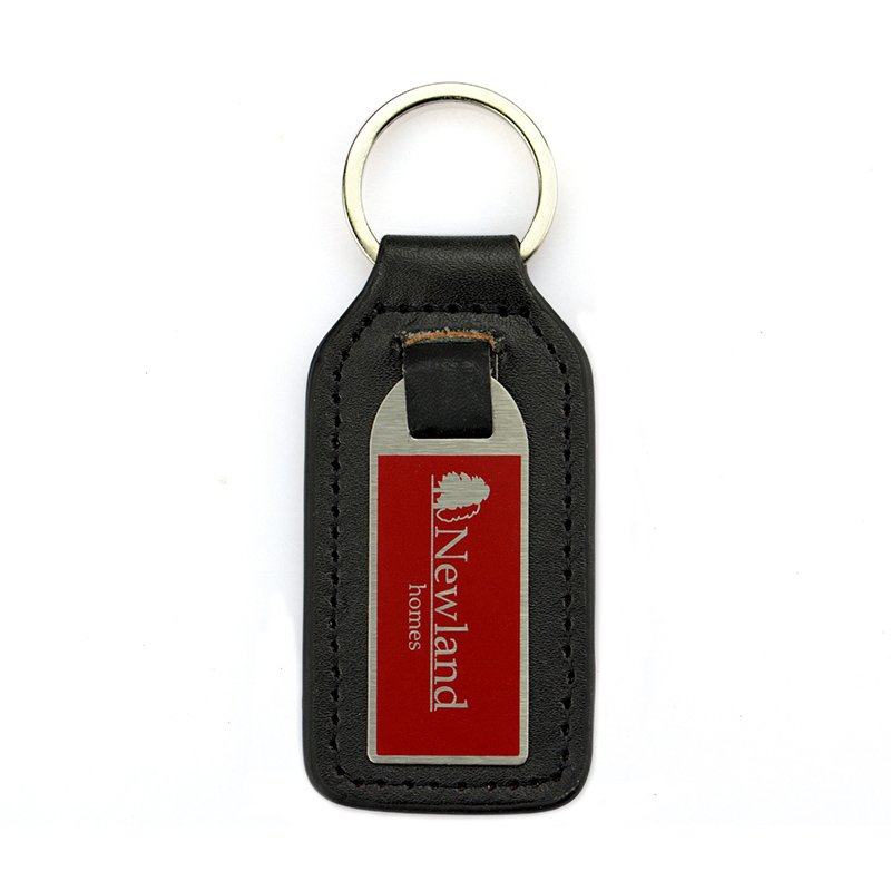 Metal And Leather Keychain For Men