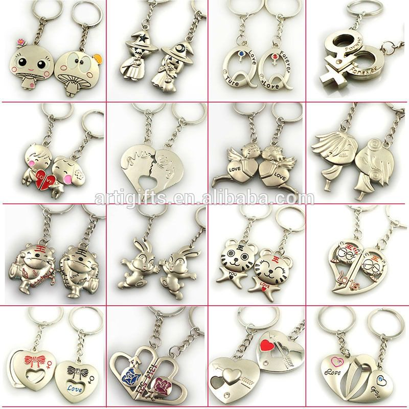 angel metal cute couple keychain