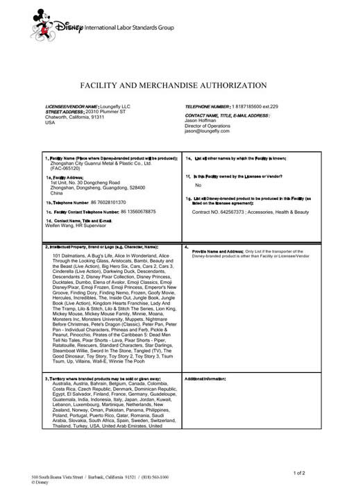DISNEY FAMA(facility and merchandise authorization)