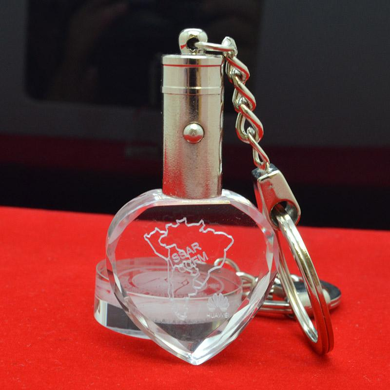 3d laser transparent led crystal keychain