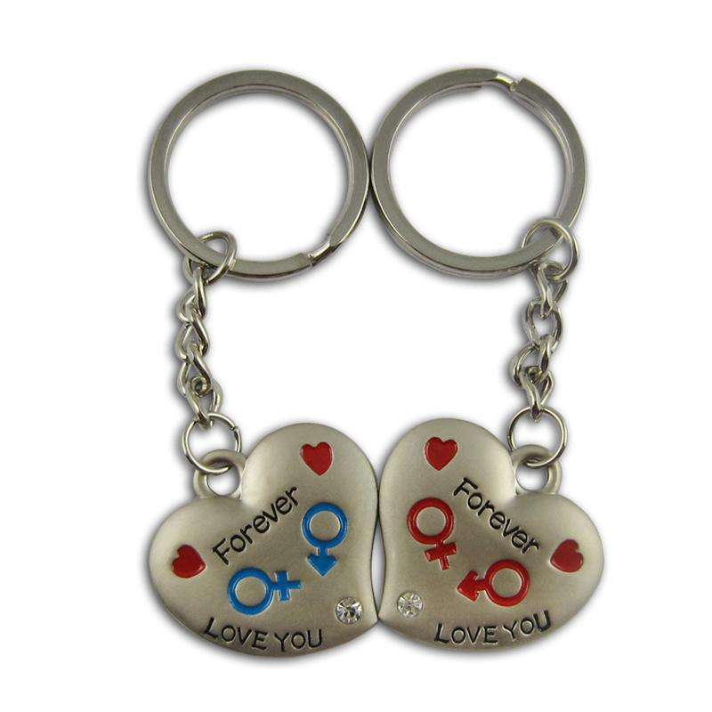 Funny couple keyrings in key chain