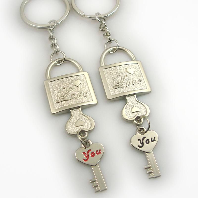Wholesale cheap metal couple keyrings