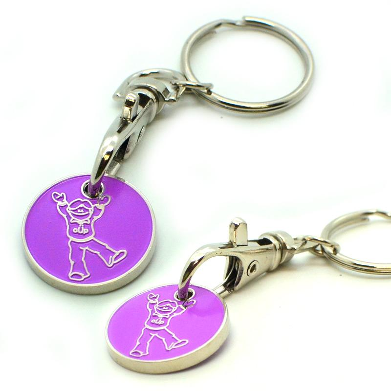 Manufacturer cheap custom trolley coin keyrings