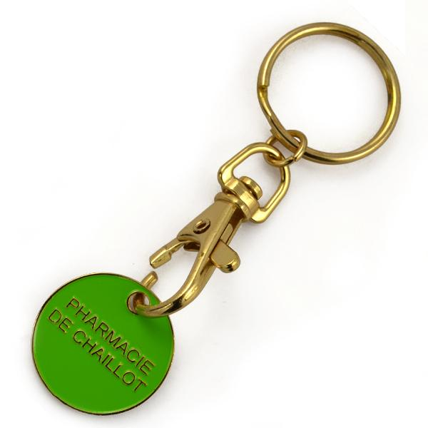 Made in China custom metal trolley coin keychain