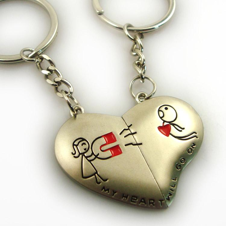 Custom Cheap Heart Angel Metal Cute Couple Keychain