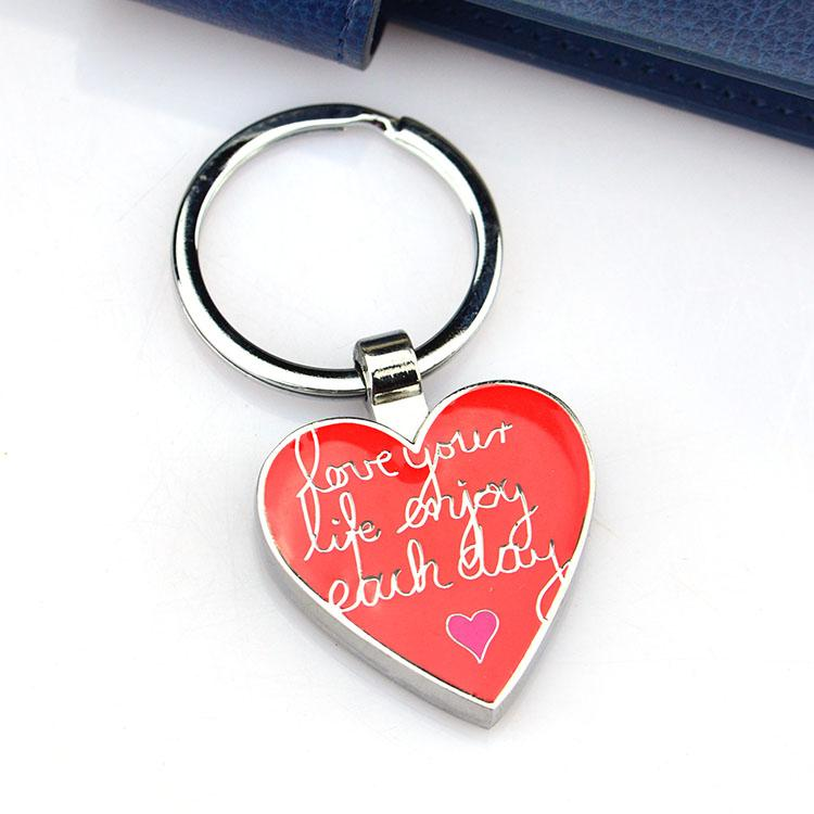 Metal Heart Engraved Keychain