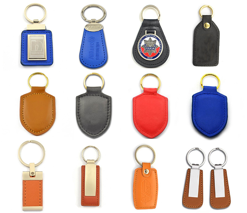 wholesale keychains metal and leather expensive keychain