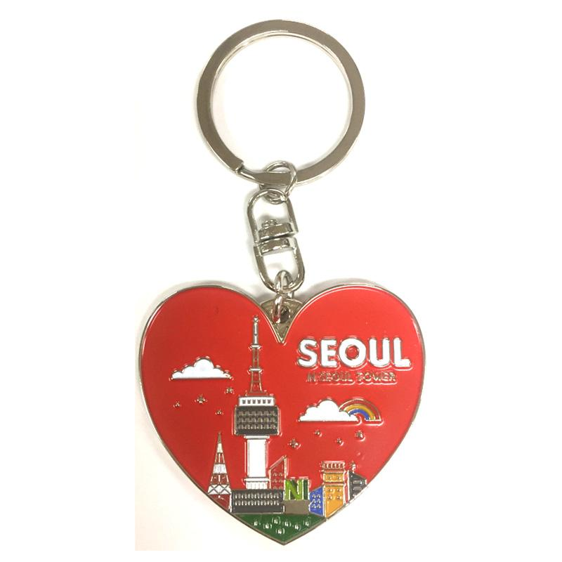 heart soft enamel metal keychain