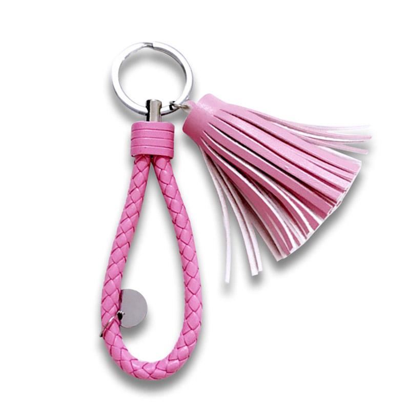 No Minimum Wholesale Custom Pu Leather Tassel Keychain