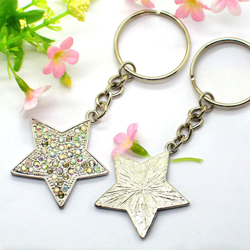Custom Cheap Metal Star Keychain Bulk With Diamond