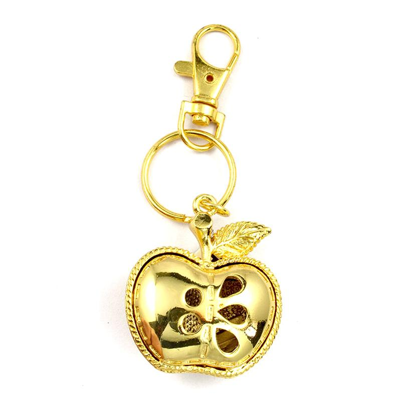 China Keychain Supplier Custom Bulk Gold 3D Apple Shape Key Chain
