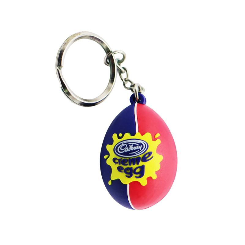 China Factory Custom Bulk 3D Egg Shape Soft Rubber Oval Keychain