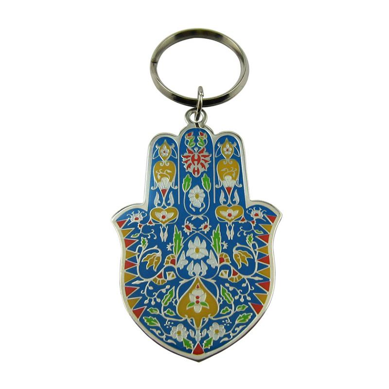 Wholesale Custom Quality Metal Baking Enamel Hamsa Hand Keychain