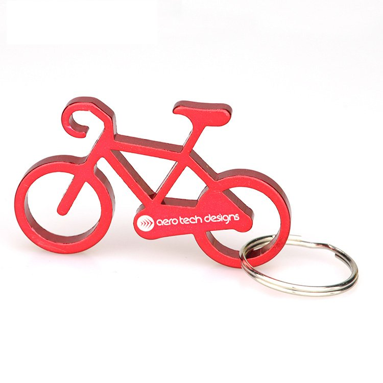 Keyring Maker Custom Metal Aluminum Bicycle Keychain With Opener
