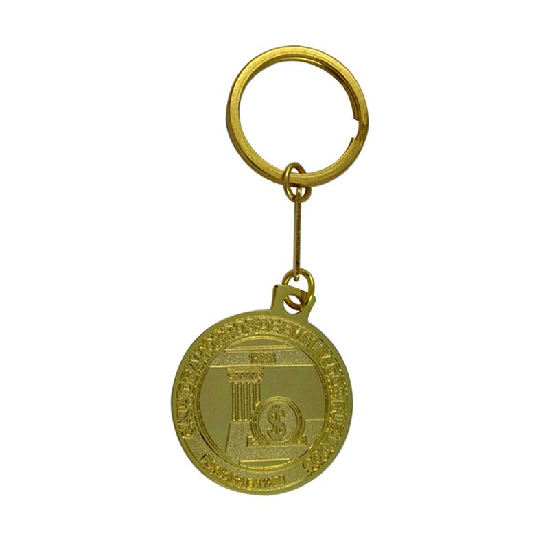 Wholesale Keychain Factory Custom Gold Round Keychain With Dollar Logo