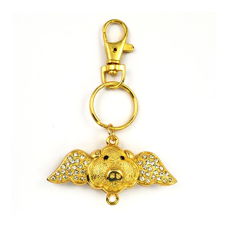 Keyring Maker Custom Cheap Plated Gold Pig Keychain With Rhinestone