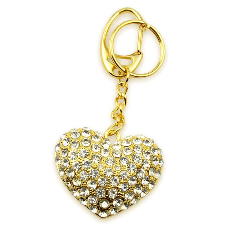 Metal Keychains Double Ring Rhinestone Jewelry Love Key Chain