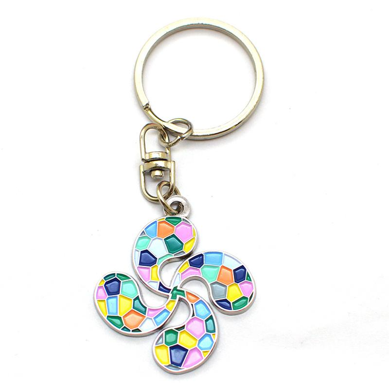 Promotional Flower Shape Metal Enamel Personalized Key Ring