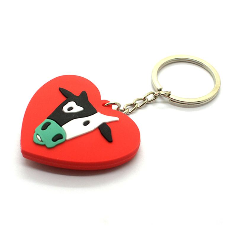 Custom Keychain Cheap 2D Rubber Soft Pvc Heart Key Ring