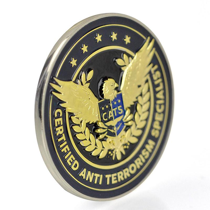 Custom Metal Enamel 3D American Eagle Tungsten Gold Coin