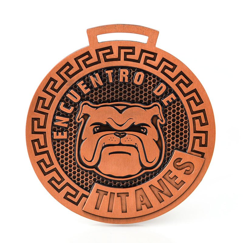 Oem Custom Double Side Design Stamp Copper Dog Medal