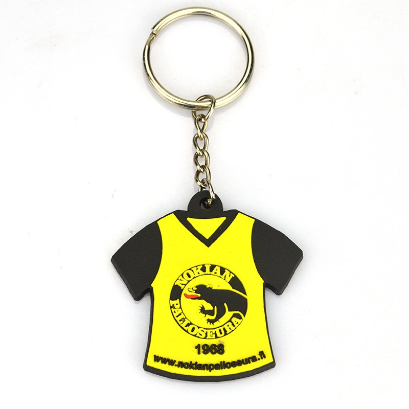 Custom Football Team Rubber Key Chain Pvc T-Shirts Keychain