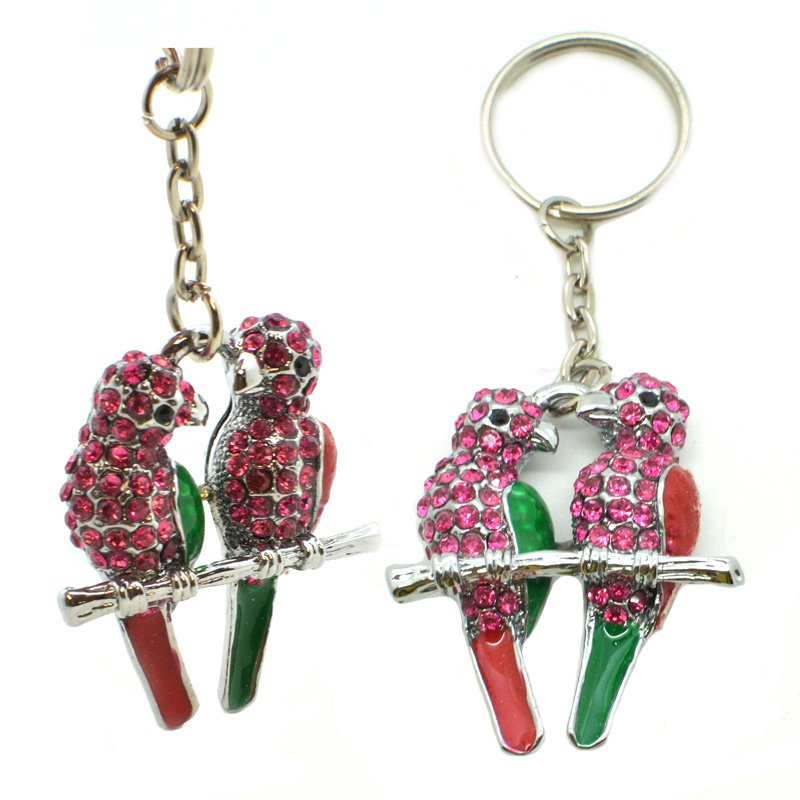 Metal Keychain 3D Animal Rhinestone Keyring Jewelry Key Chain