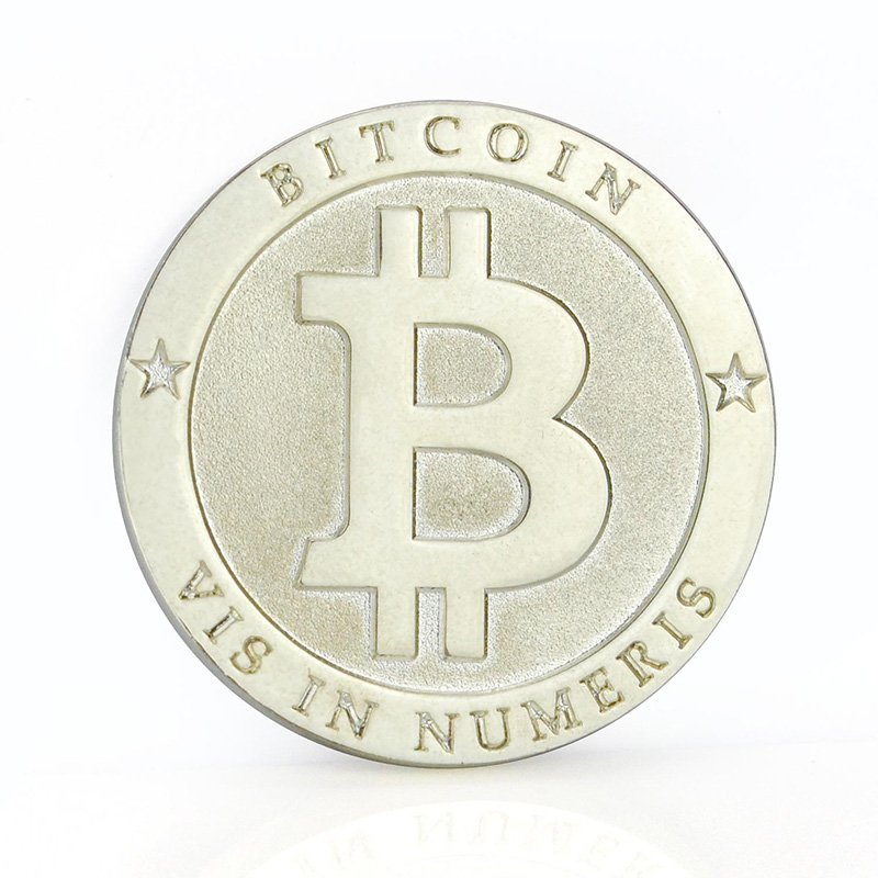 Bitcoin Commemorative Coin Metal Plated Silver Bit Coin