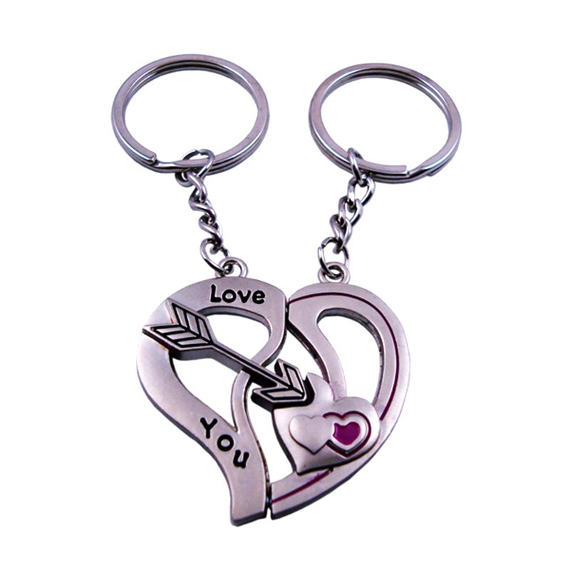 Custom Heart Key Holder Metal Couple Keychains Pair Key Chains