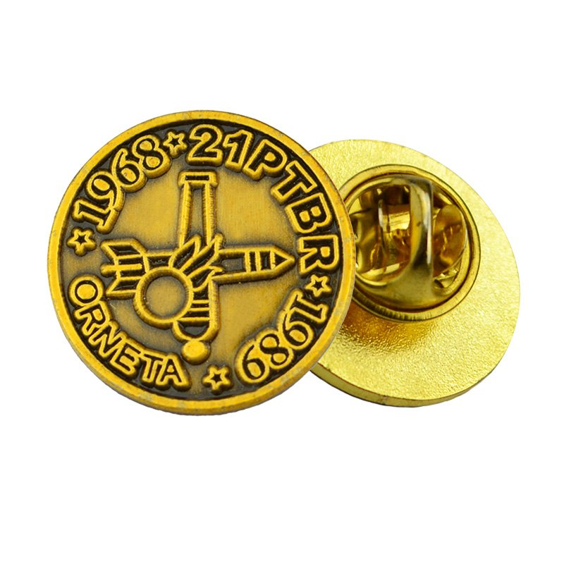 Metal Brass Lapel Pin Custom Engraved Embossed Logo Pin Badges