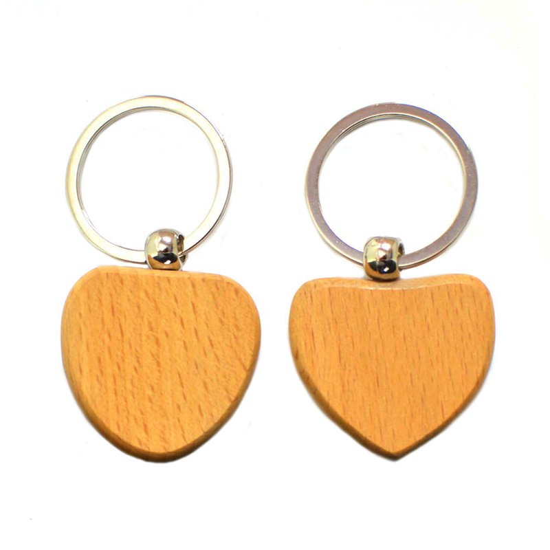 Heart Wooden Key Chain Custom Logo Wood Keychain With Name