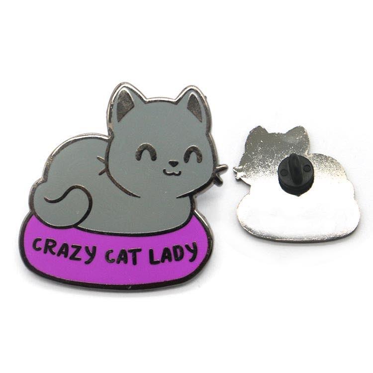 Enamel Animal Pins Custom Cat Shaped Art Gold Lapel Pins