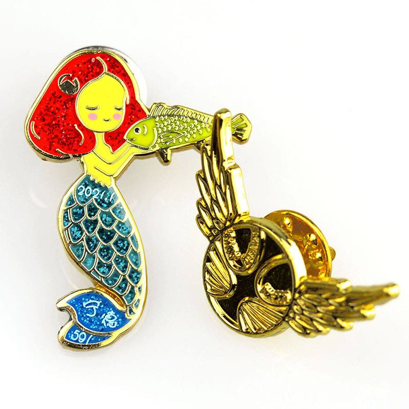 Wholesale Mermaid Enamel Pin Metal Glitter Badges Custom For Sale
