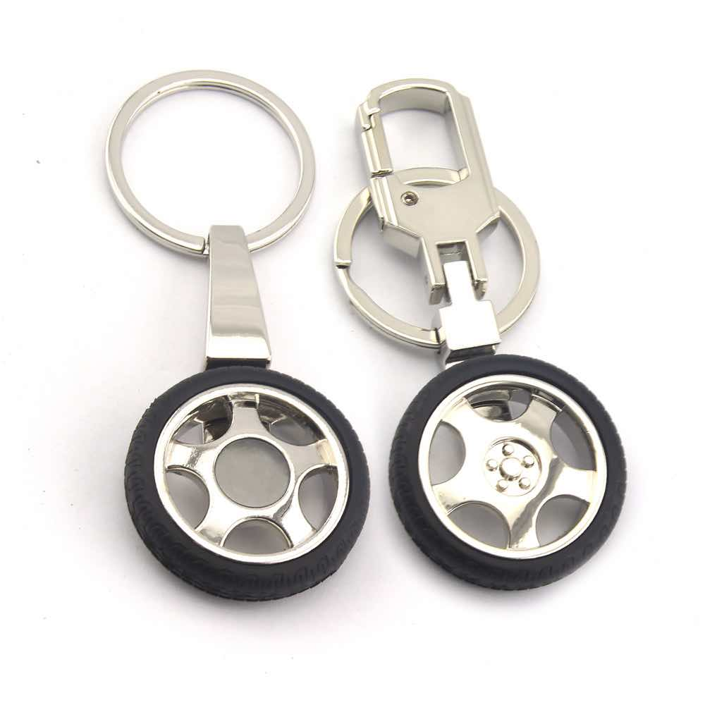 Zinc Alloy Wheel Keychain Key Chain Wholesale With Double Rings